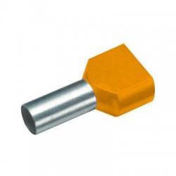 Twin geïsoleerde adereindhuls 0,5 mm2 in oranje
