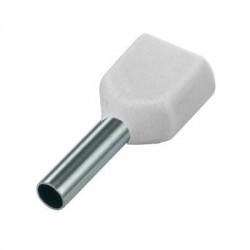 Twin geïsoleerde adereindhuls 0,75 mm2 in wit