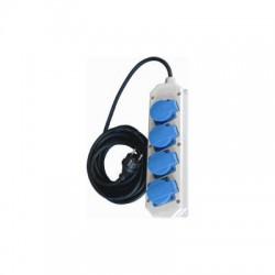 Contactdoos 4V grijs/kunststof met deksel (incl 10 meter snoer)